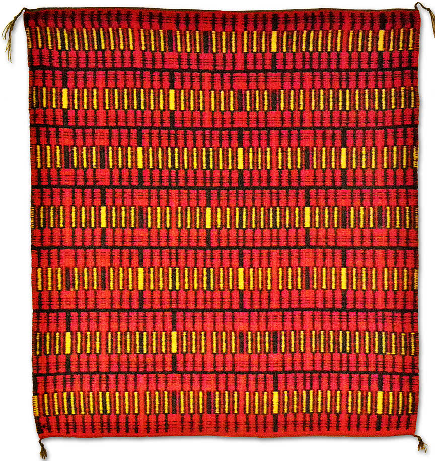 Fiber Art/Rug Weaving Red Yellows by Charles H. Blanchard